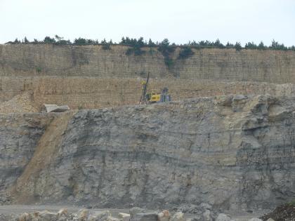 Blick auf mehrere Sohlen und Wände eines Steinbruches im Zollernalbkreis. Das Gestein ist dunkelgrau, links und oben auch rötlich braun und weist in der vorderen Wand ein wellenförmiges Muster auf.