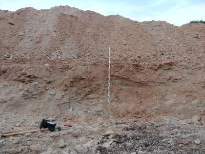 Blick auf eine halbhohe, rötlich braune bis graue Steinbruchwand. Darüber türmen sich Abraumhalden. Am Fuß der Wand verteilt sich lockeres Gestein.