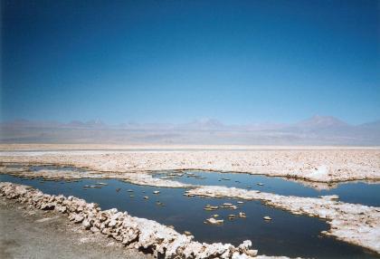 Blick auf eine größere Wasserfläche, die von Salzablagerungen teilweise bedeckt ist. Salz blidet auch eine niedrige Mauer als Ufer im Vordergrund. Am dunstigen Horizont ist eine Gebirgskette erkennbar.