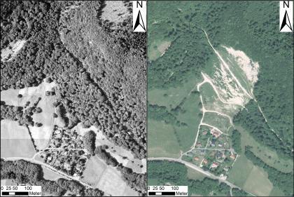 Zwei Luftbilder zeigen einen bewaldeten Berghang: links vor einer Rutschung und rechts danach.