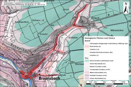 Übersichtskarte, in welche mit rot der betroffene Schadenbereich einer Sturzflut eingezeichnet ist. Die Karte ist beschriftet. Rechts oben befindet sich ein Nordpfeil, rechts unten eine Legende.