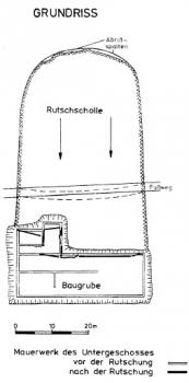 Grundriß des Schulhauses mit den verschobenen Wänden und skizzierter Rutschung.