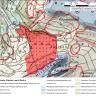 Das Bild zeigt die Umgebung des Bergrutsches mit farbig hervorgehobenen Flächen, die die einzelnen geologischen Einheiten symbolisieren.