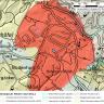 Geologische Übersichtskarte von der Rutschung bei Heiligenberg. Die Rutschungsfläche ist dabei rot eingefärbt.
