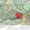Übersichtskarte einer Rutschung, welche als rote Fläche in die topographische Karte eingezeichnet ist. Rechts oben befindet sich ein Maßstab, unten mittig eine Legende.