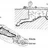In Schwarzweiß gehaltene Grafik, die Aufsicht und Querschnitt des Alten Eisinger Lochs zeigt.