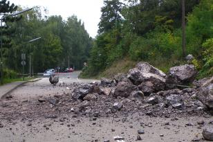 Das Bild zeigt eine Straße, auf die von einem Hang rechts Steine und Felsbrocken geschoben wurden. Die Straße ist abgesperrt. Ein Mann links in Warnkleidung begutachtet den Schaden.