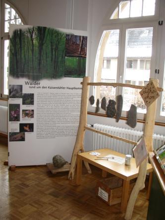 """Blick in einen Museumsraum. Rechts ist ein Holzgestell mit aufgehängten Klangsteinen aufgebaut, links steht eine bebilderte Informationstafel zum Thema """"Wälder rund um den Kaiserstühler Hauptkamm""""."""