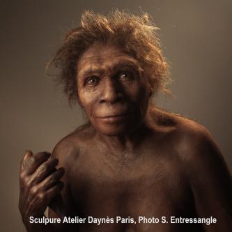 Das Foto zeigt die sehr lebendig wirkende Nachbildung eines Urzeitmenschen mit brauner, runzliger Haut, breiter Nase, wulstigen Augenbrauen und braunen Haaren. In der erhobenen rechten Faust hält der Urmensch einen Steinkeil.
