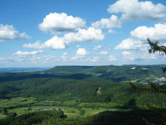Blick von erhöhtem Standort über eine bewaldete, bergige Landschaft mit einzelnen Grünflächen. Der Bergrücken im Hintergrund bildet eine große Stufe.