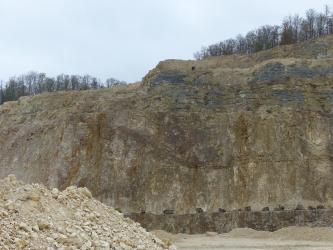 Blick auf eine steil aufragende Steinbruchwand. Das braune Gestein weist im oberen Drittel bläuliche Lagen auf. Die Kuppe einer zweiten, höheren Wand im Hintergrund ist bewaldet. Vorne liegen Abraumhaufen.