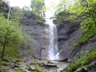 Blick auf eine hohe graue Felswand, die in der Mitte leicht eingebrochen ist. Von dort stürzt ein Wasserfall herab und bildet unten zwischen Steinblöcken einen Bach. Links und rechts sowie auf den Felsen wachsen Bäume.