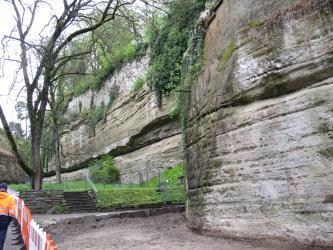 Auf dem Bild sieht man auf der rechten Seite eine Felswand aus geschichtetem Sedimentgestein. Auf der linken Seite vor dem Aufschluss befinden sich zwei Bäume, sowie ein Weg. Der Weg ist durch eine Absperrung versperrt.