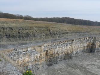 Der Blick geht über zwei Sohlen eines Steinbruchs. Die untere zeigt waagrecht gebankte Streifen in gelblich brauner, weißer und grauer Farbe. Die obere Sohle ist, nach links hin ansteigend, oliv- und schwarzbraun gefärbt.