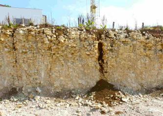 Das Bild zeigt eine aus gelblichem Gestein bestehende Wand einer Baugrube. Das kleinbrockig aufeinandergeschichte Gestein ist mit einem größeren Riss durchzogen, der sich mit nachrutschender Erde gefüllt hat.