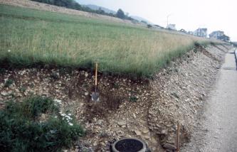 Das Bild zeigt die Abbruchkanten eines von links oben nach rechts unten geneigten, gestuften Hanges. Unter dessen Grasdecke ist die Erdschicht stark mit Schutt vermischt.