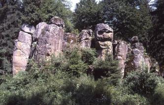 Das Bild zeigt sieben aneinandergereihte, unterschiedlich geformte Felssäulen, die hinter Bäumen hervorschauen. Die Säulen haben eine violette Farbe und Risse oder Spalten, die teilweise an Gesichter erinnern.