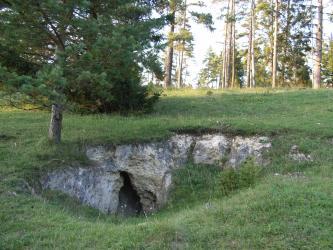 Das Bild zeigt eine ovale Vertiefung inmitten einer Waldlichtung. Neben gelblich grauen Felsen ist am unteren Rand auch eine kleine Höhle erkennbar.