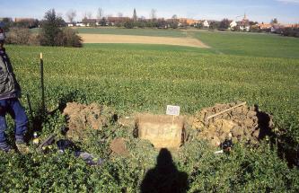 Auf einer leicht nach rechts geneigten grünen Ackerfläche wurde ein Bodenprofil aufgegraben. Die von der Sonne erhellte Stirnwand der Grube sowie das aufgehäufte Bodenmaterial rechts ist im oberen Bereich hellbraun, darunter gelbbraun gefärbt.