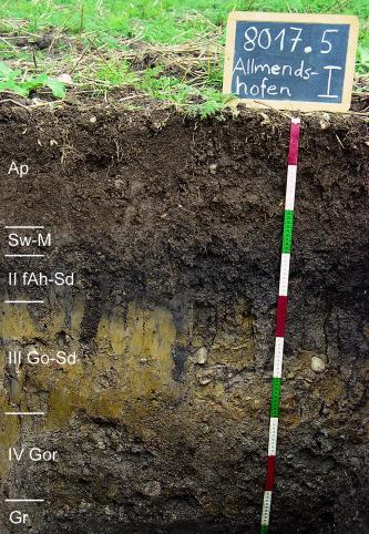 Das Foto zeigt ein Bodenprofil unter Acker. Es handelt sich um ein Musterprofil des LGRB. Das sechs Horizonte umfassende Profil ist 1 m tief.