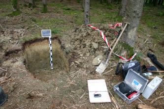 Das Foto zeigt ein aufgegrabenes Bodenprofil in einem Wald. Rechts davon verteilen sich Spaten, ein Fotokoffer sowie weitere Gerätschaften.