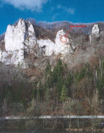 Blick auf eine hohe Felswand, welche unten und obendrauf mit Bäumen bewachsen ist. An einem der Felssporne ist mit einem roten Kreis die Ausbruchstelle eines Felssturzes eingezeichnet.