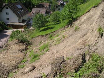 Rechts ein steiler Hang, an dem sich braunes Lockermaterial befindet. Links unten eine plattgewalzte Rampe aus Lockermaterial. Rechts im Hintergrund befindet sich eine Obstbaumwiese. Links im Hintergrund einige Wohnhäuser.