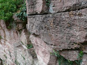 Seitlicher und leicht abwärts gerichteter Blick auf rötlich graue, rechts stark zerfurchte Steinblöcke, die zu einer Mauer zusammengefügt wurden. Einzelne Ritzen sowie die Mauerkuppe sind bewachsen.