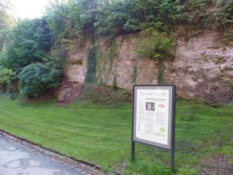 Blick auf eine rötlich braune, längliche Gesteinswand mit starkem Bewuchs oben und links. Auf einer Wiese vor der Steinwand steht rechts eine Schautafel.