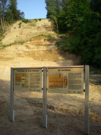 Blick auf die hellbraune Abbauwand einer Sandgrube, die links und rechts von Wald begrenzt wird. Im Vordergrund verweisen zwei Schautafeln auf den Sandabbau und die Schichtenfolge in der Grube.
