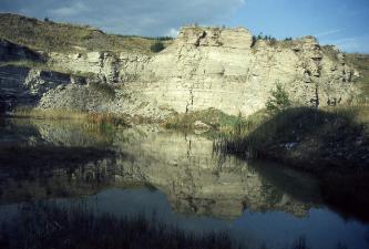 Blick auf eine grünlich graue Steinbruchwand mit erkennbarem Bewuchs. Im Vordergrund bildet Wasser einen See, in dem sich die Bruchwand spiegelt.