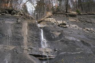 Auf dem Bild sieht man einen grauen, oben bewaldeten Berghang. Im oberen Bereich sowie unten liegen Gesteinsschichten frei. Von links oben bis rechts unten haben sich Rutschmassen verteilt und aufgehäuft. In der Bildmitte fließt ein kleiner Wasserfall.