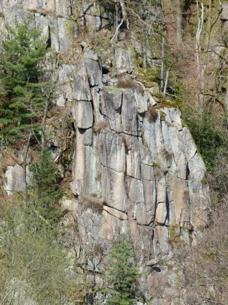 Das Foto zeigt eine auffallende, hohe Felsformation an einem Berghang. Die Formation besteht aus mehreren, durch Klüfte getrennte Felsen, die auf- und nebeneinanderstehen. Teils sind die Felsen auch abgerundet. Der Berghang selbst ist bewaldet.