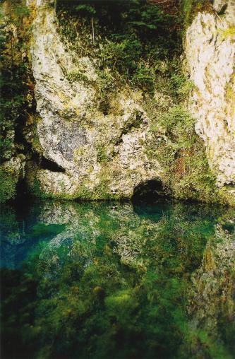 Blick auf eine stark bewachsene, in einer dunkelgrünen Wasserfläche gespiegelten, senkrecht aufsteigende Felswand. In der Mitte des Bildes, auf Höhe des Wassers, ist eine kleine Höhle erkennbar.