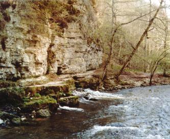Man sieht einen nach rechts strömenden Fluss sowie eine steile, getreppte Gesteinsböschung links. Im Hintergrund rechts ein bewaldeter Hang.