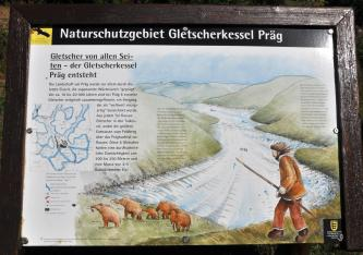 Das Foto zeigt eine bebilderte Schautafel mit dem Thema: Wie der Gletscherkessel Präg entstand. Ein großes Bild zeigt eine Gletscherzunge zwischen grünen Bergen. Im Vordergrund folgt ein Jäger einer Mammut-Herde.