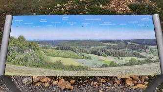 Blick auf eine farbige, an einem Metallrahmen befestigte Fototafel. Die Tafel zeigt eine hügelige Waldlandschaft. Hinzugefügte Namen von Bergen, Ortschaften oder Sehenswürdigkeiten dienen als Orientierungshilfe.