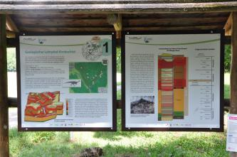 Zweiteilige, bebilderte Schautafel eines geologischen Lehrpfades, unter anderem mit Gesteinsfolge und Zeitleiste.