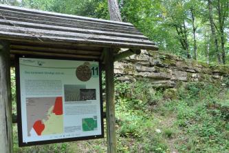 Blick auf eine bebilderte Schautafel im Naturpark Schönbuch mit dem Thema: Das Jurameer kündigt sich an. Rechts sind teilweise zugewachsene und bemooste Gesteinsbänke zu sehen. Dahinter ist Wald erkennbar.