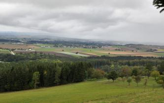 Hinter einer Wiese und einem Waldgürtel dehnt sich eine leicht hügelige Landschaft mit Äckern und Grünflächen aus. Im Hintergrund, unter grauen Wolken, sind bewaldete Berge gerade noch erkennbar.