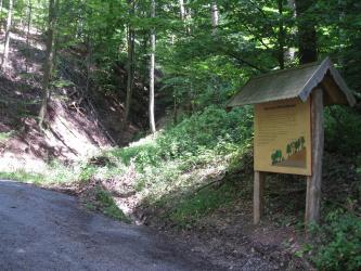 Entlang eines im Vordergrund verlaufenden Weges steht rechts eine überdachte, hölzerne Schautafel. Dahinter steigen rechts und links steile Waldhänge auf, die in der Mitte eine Schneise bilden.