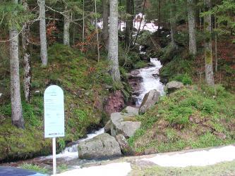 Blick auf einen zum Hintergrund hin aufsteigenden Waldhang sowie einen Bach, der diesen Hang hinunterfließt. Links unten trifft der Bach auf einen zweiten, der rechts am Hangende entlangfließt. Wo sich die Bäche treffen, steht eine Hinweistafel.
