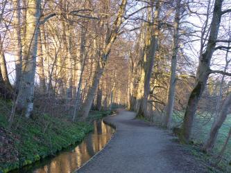 Blick auf einen schmalen, gewundenen Bachlauf. Das linke Ufer besteht aus einer begrünten Böschung und Wald. Rechts verläuft ein eingefasster Wanderweg, begrenzt von Bäumen. Am Bildrand rechts ist eine Wiese erkennbar.