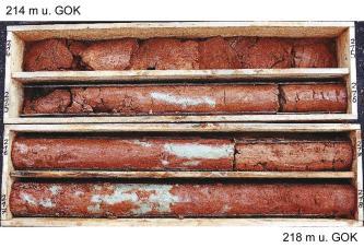 Das Foto zeigt vier in Kisten ausgestellte Bohrkerne. Das Gestein ist rötlich mit weißlichen Stellen. Der oberste Bohrkern ist in Stücke zerbrochen.