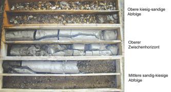 Das Foto zeigt Erd- und Gesteinsmaterial aus Bohrungen, verteilt in sechs länglichen Kisten. Oben und unten sind die Kisten mit Kies und Sand gefüllt, dazwischen liegt weißlich graues, teils gesprungenes und zerbrochenes Gestein.