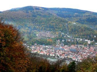 Von weit oben geht der Blick über Baumspitzen auf die Altstadt von Heidelberg mit erhöht stehendem Schloss. Dahinter steigen mehrere bewaldete Berge auf.
