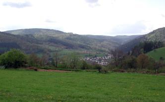 Von einer hoch gelegenen Wiese aus geht der Blick in ein bewaldetes, bergiges Tal. In der Mitte des Tals liegt eine kleinere Siedlung.