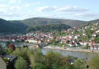 Das Bild zeigt eine größere, an einem Fluss liegende Stadt mit Kirchtürmen und Brücke. Rechts sind die Häuser einen Hang hinaufgebaut. In der Bildmitte erhebt sich ein halbrunder, bewaldeter Berg, dahinter weitere, höhere Berge.