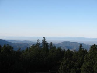 Im Vordergrund befindet sich ein dichter Nadelwald, die teilweise die Ausläufer des Schwarzwaldes verdecken. Dahinter liegt der flache Oberrheingraben. Am Horizont sind die Konturen der Vogesen erkennbar.