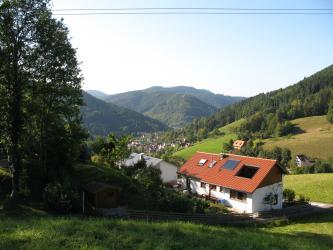 Von erhöhtem Standort aus blickt man auf ein Tal mit ringsum ansteigenden, bewaldeten Bergen sowie einer Siedlung im Talgrund. Im Vordergrund rechts steht ein Baum, daneben liegt, zu einem modernen Haus gehörend, ein schattiger Garten.